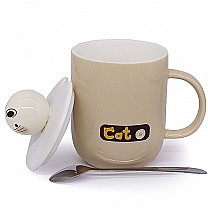 Cat Ceramic Coffee Mug with Lid and Spoon - Cream