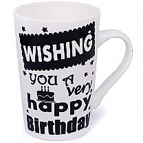 'Wishing You A Very Happy Birthday' Ceramic Coffee Mug - Black Print