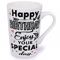 'Happy Birthday Enjoy Your Special Day' Ceramic Mug - Black Print