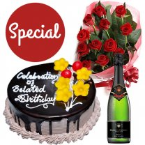 Chocolate Cake, Wine and 12 Red Roses Combo