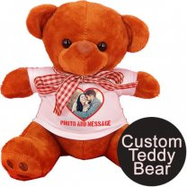 Custom Mini Teddy Bear With Photo & Message Print On T-shirt (Two Colors)