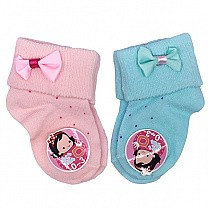 Cute Bow Design Socks For Baby - Pink & Green