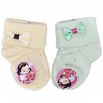 Cute Bow Design Socks For Baby - Yellow & Green