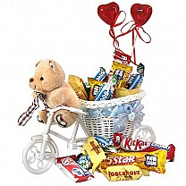 Teddy Delivering Chocolates on Rickshaw  - Send Gifts To Nepal
