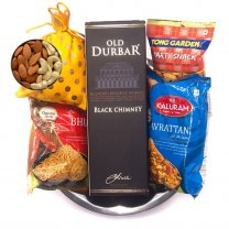 Festive Tray Set of Old Durbar Black Chimney & Snacks