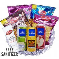 Savory Namkeens and Juice Can Snack Hamper Tray (Free Sanitizer)