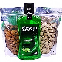 Closeup Nature Boost Mouthwash With Dry Nuts