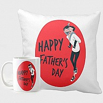 Happy Father's Day Printed Cushion & Mug