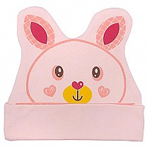 Heart Rabbit Cap For Babies - Peach