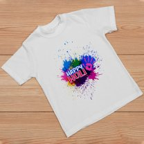 Happy Holi Printed T-shirt For Kids & Adults - Design 2