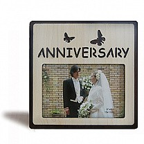 """Anniversary"" Butterflies Wood Photo Frame - Table Top"