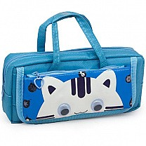 Kitty Pencil Purse With Handle - Blue