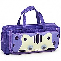 Kitty Pencil Purse With Handle - Purple