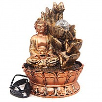 Hand Holding Flower Behind Buddha LED Water Fountain (11.5 inches)