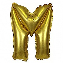 "Foil Balloon Alphabet ""M"" - Bright Golden"