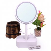 White Table Top Girls Cosmetic LED Mirror 12''