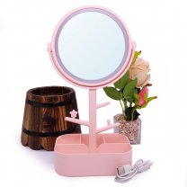 Pink Table Top Girls Cosmetic LED Mirror 12''