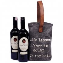 Life Lesson Double Wine Bag With Two Sweet Red Wine
