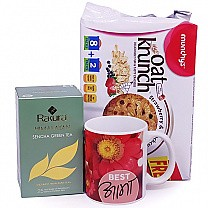 Rakura Green Tea With Oats Cracker & Best Aama Printed Mug