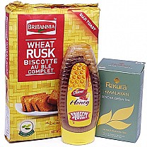 Britannia Wheat Rusk Toast With Honey & Tea Bag