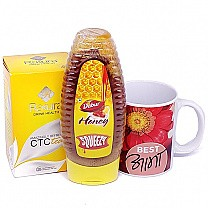 Dabur Honey Squeezy With Tea Bag & Best Aama Printed Mug