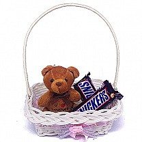 Snickers Chocolate Bar With Cute Mini Teddy in Carrying Basket