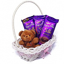 Dairy Milk Silk X 3 Flavors With Mini Teddy Bear in Basket