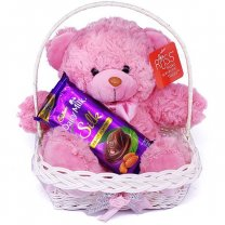 Adorable Teddy Bear With Dairy Milk Silk in Gift Basket