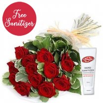 One Dozen Romantic Red Roses Love Bunch (Free Sanitizer)