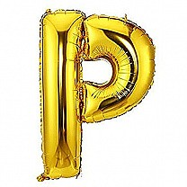 "Foil Balloon Alphabet ""P"" - Bright Golden"