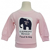 Kids Light Pink Sweatshirt with Elephant Hugge Print
