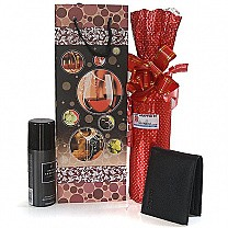 Sweet Red Wine in Bag with Leather Wallet and Body Spray