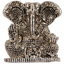 Beautiful Mini Ganesh Ji Metal Statue (Silver)