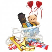 Delivering Chocolates on Rickshaw With Teddy