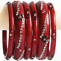 Red Color Glass Bangles 3 pcs Set (Size 2-6)