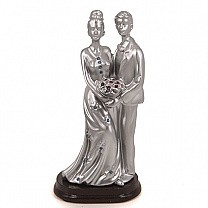 Silver Finish Romantic Couple Statue With Bouquet