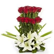Beautiful Bouquet of 30 Roses and 3 Lily Flowers