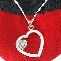 Sweetheart White Stone Silver Heart Pendant (With Silver Necklace Included)