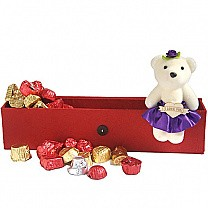 Special Valentine Gourmet Chocolate Box with Cute Mini Teddy