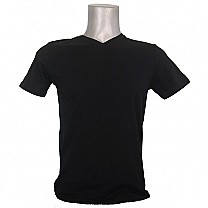 Black Casual Cotton Tshirt (V-Neck)