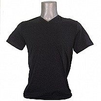 Black Gray Casual Cotton Tshirt (V-Neck)