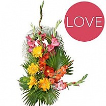 Colorful Basket - Red Yellow Gerbera with Pink White Gladious