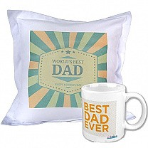 World's Best Dad Printed Cushion and Coffee Mug