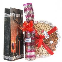 Dry Nuts Tray and Sweet Red Wine in Beautiful Wine Bag