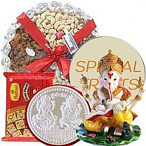 Silver Coin 10g, Dry Nuts Tray, Soan Papdi and Ganesh Ji Statue