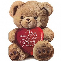 Holding My Heart for You Teddy Bear Greeting Card