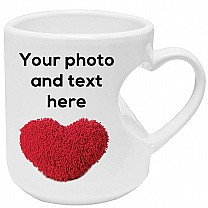 Print Any Photo and Text On This White Ceramic Mug - Heart Handle