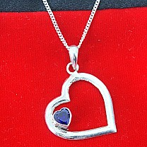 Sweetheart Deep Blue Stone Silver Love Pendant (Silver Necklace Included)