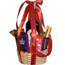 Wine Chocolates and Snacks Basket (10 Items)