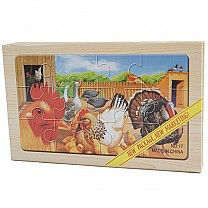 4 in 1 Wooden Picture Puzzles - Farm Animals